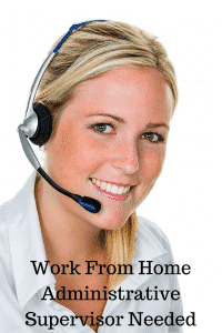 work from home administrative supervisor