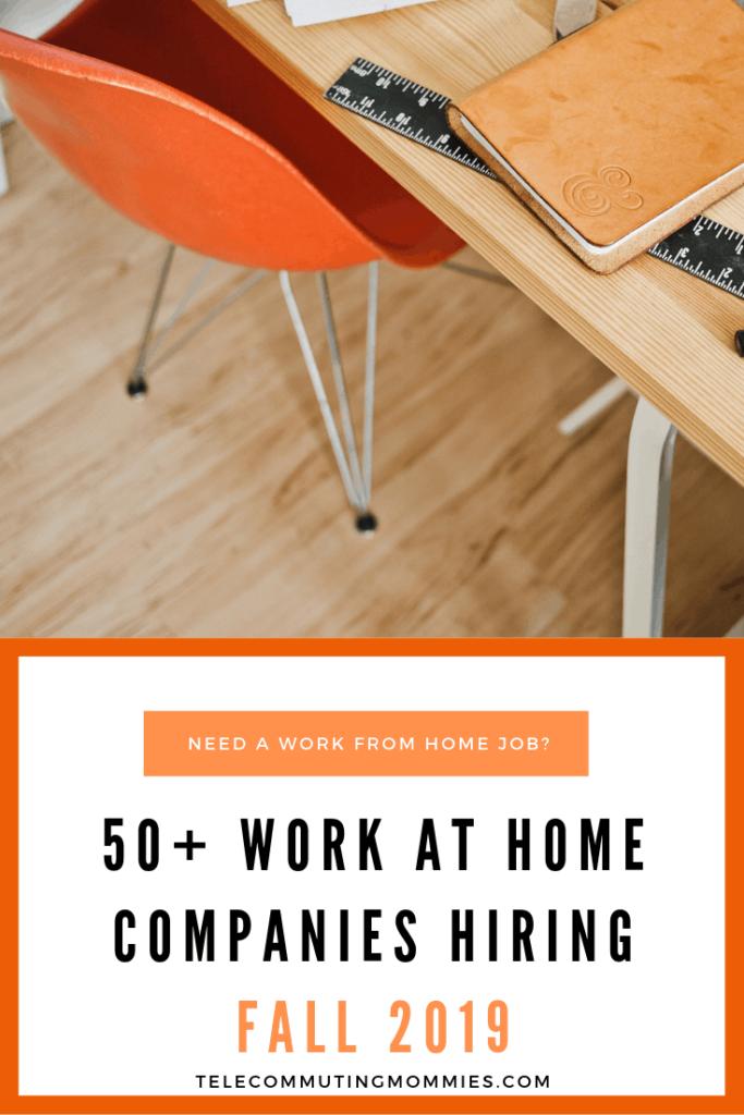 work at home companies hiring fall 2019